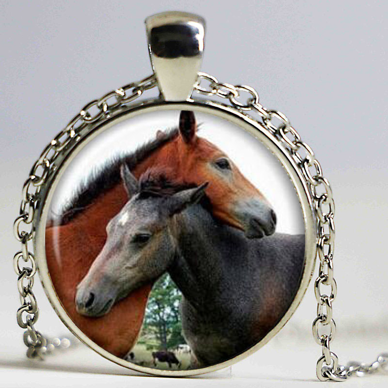 Photo cabochon verre Tibet Silver populaire Chaîne Pendentifs Collier chevaux