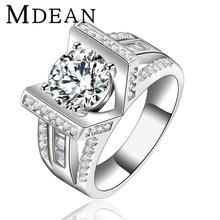 MDEAN Anillos de Boda para las mujeres Oro Blanco Plateado cz diamond engagement rings mujeres bague bijoux Joyería de La Vendimia Accesorios MSR145