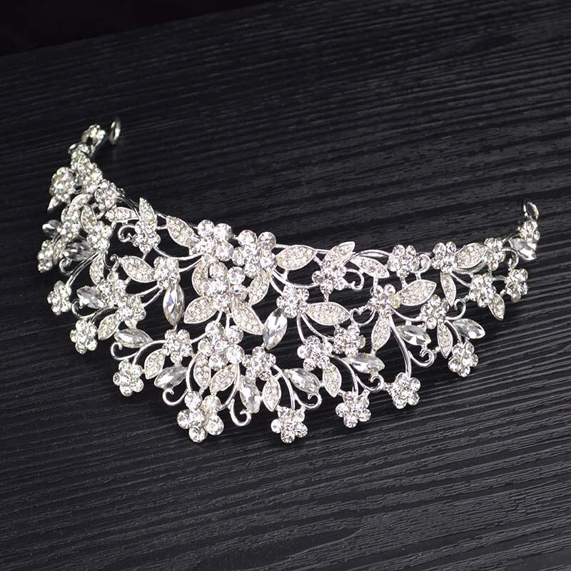 Vintage Silver Rhinestone Prom Princess Crown Crystal Bride flower Tiara Bridal Head Jewelry Pageant Wedding Hair Accessories