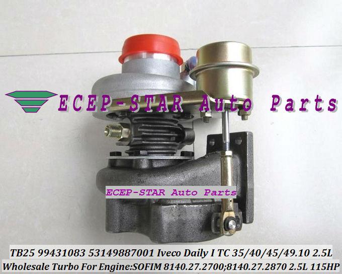TB2509 466974 466974-5010 S 466974-0001 98478057 Turbo Turbocompresseur Pour IVECO Daily Je 35.10 40.10 45.10 49.10 8140.27.2700 2.5L