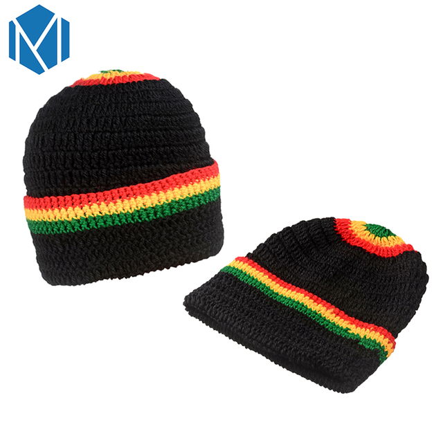 C Unisex Rasta Rainbow Striped Jamaica Beanie Hat Knitted Gorros Bob Hat Marley  Reggae Cap Winter Crochet Woolen Hats Men Women 707b589f145
