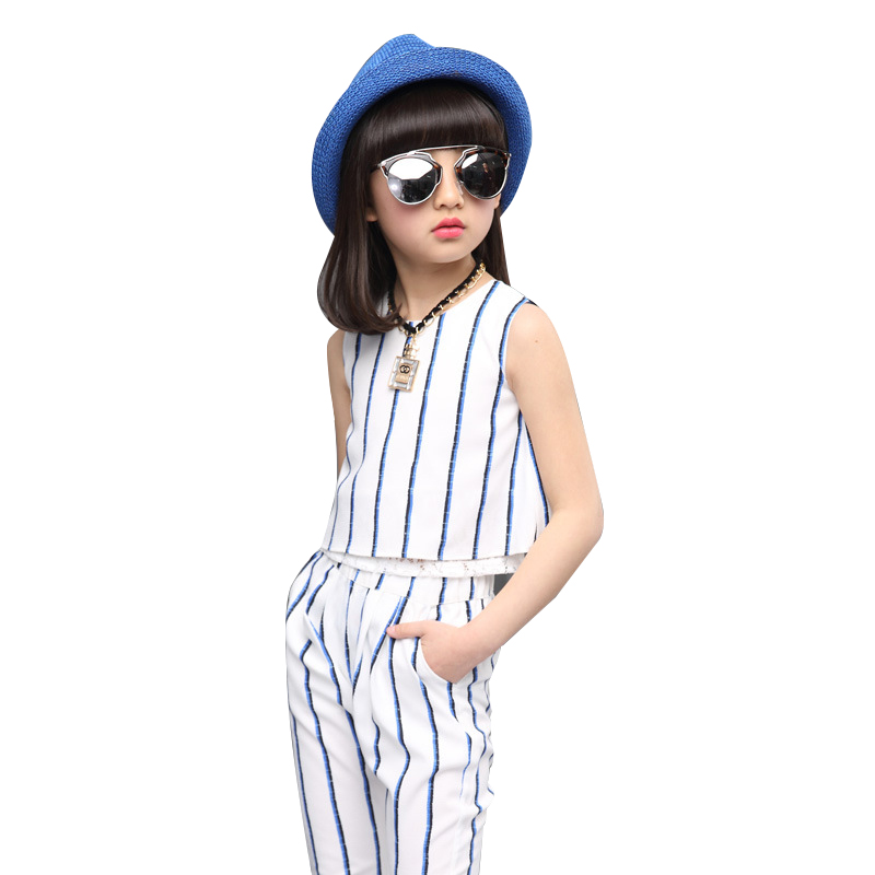 SummerKids Girls Clothing Sets 2Pcs T-Shirts & Trousers Outfits Sleeveless Striped Cotton Vests Teenage Girl clothe Pencil Pants multiplying cigarettes case