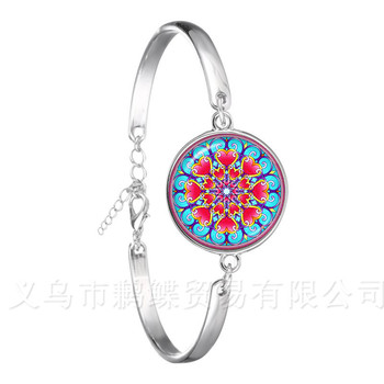 Indian Henna Yoga Jewelry Om Symbol Buddhism Zen Colorful Mandala Flower Chain Bracelet For Women Girls Creative Gifts image