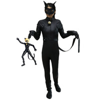 Miraculous Ladybug Adrien Costume Cat Noir With Mask Cosplay Costume For Kids Halloween Costume