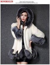 SC227 S-6XL Thick Long Faux Mink Fur Coat Winter Warm Open Stitch Slim Plush Coat 2018 Women Cardigan With Trim Hood Fur Hat scalloped trim faux fur hem bardot dress