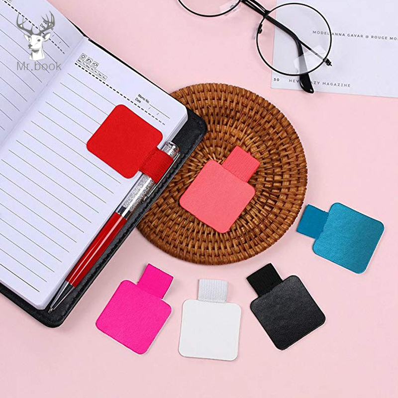 5PCS Self-adhesive Leather Pen Clip Pencil Elastic Loop For Notebooks Journals Clipboards Pen Holder Office School Stationery