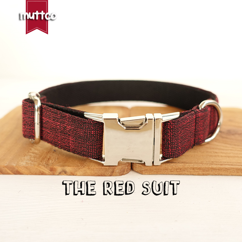 100pcs/lot MUTTCO wholesale handmade like handsome brilliant dog collar THE RED SUIT unique design dog collars 5 sizes UDC006