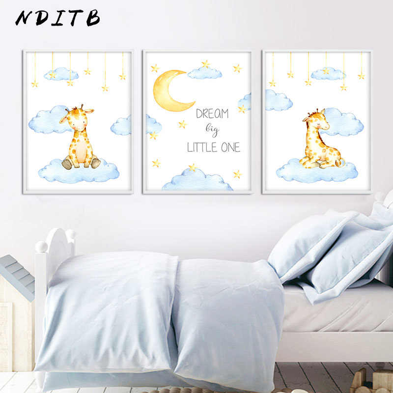 Baby Nursery Wall Art Canvas Painting Deer Animal Poster Print Nordic Kid Decorative Picture Children Bedroom Decoration