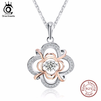 925 Sterling Silver Cute Flower Pendant Necklaces With 0 3 Ct Shiny CZ Rose Gold Plated