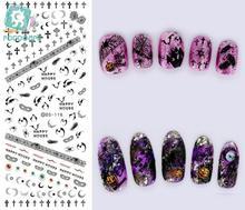 Rocooart DS118 Water Transfer Nails Art Sticker Black Bat Crosses Element Nail Wrap Sticker Manicura nail transfer Stickers