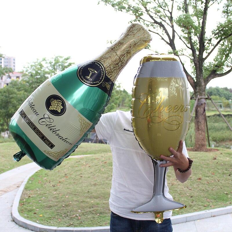 Большой бокал для вина и бутылку в виде воздушный шар из фольги ура Mylar Baloes для Годовщины свадьбы День рождения украшения BallsLLV16 LLV17
