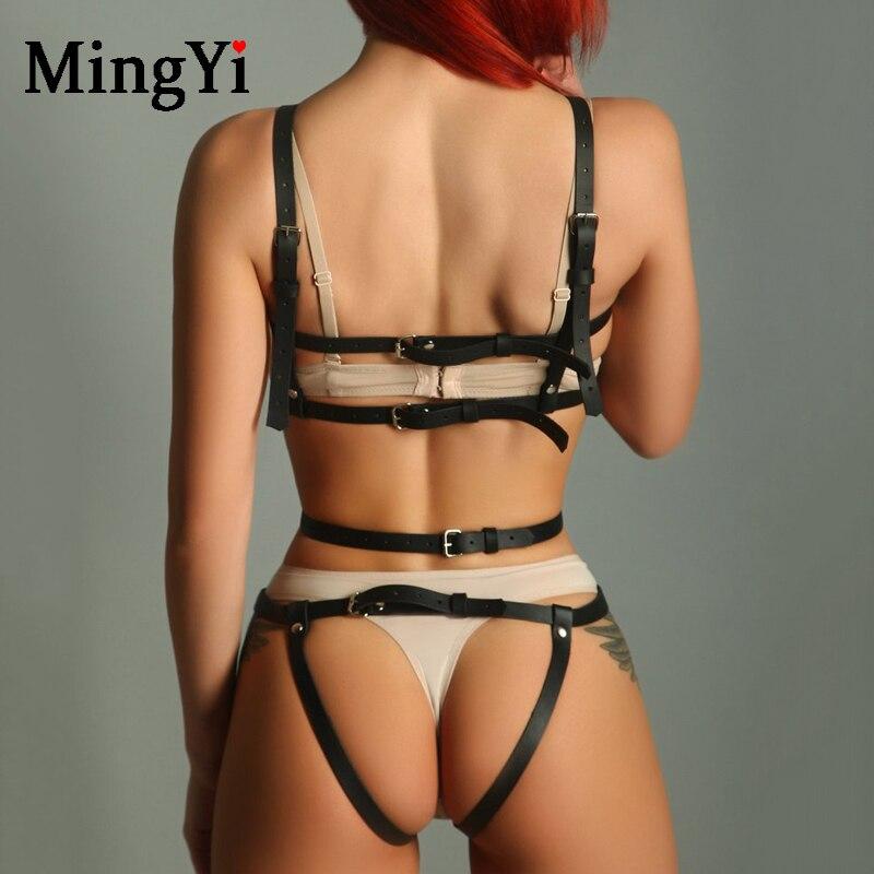 Image 3 - Sexy Leather Full Body Harness Bondage Belt Gothic Open Bra Erotic Lingerie Cage Body Suit Sex Harness Bdsm Bodysuit Fetish WearTeddies & Bodysuits   -