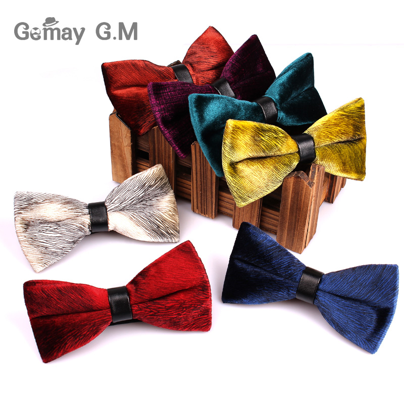 High Quality Velve Bowties For Men Brand Male Classic Solid Bow Tie Necktie For Business Wedding Neckwear Bowtie Gravat
