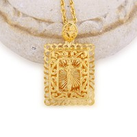 Crosses Jewelry Lords Prayer Jesus Cross Pendant Necklace Gold Color Womens Chain Christ Square Christian Jewelry