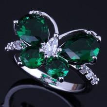 Elegant Butterfly Green Cubic Zirconia White CZ 925 Sterling Silver Ring For Women V0460