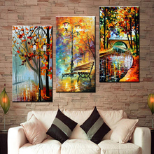 CV Large Handpainted Abstract Modern Wall Painting Rain Tree Road