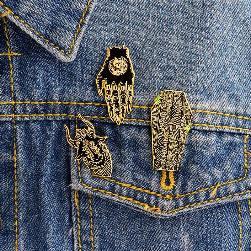 КЭП! Готические значки в стиле панк, броши, кожаные куртки, аксессуары для рюкзака