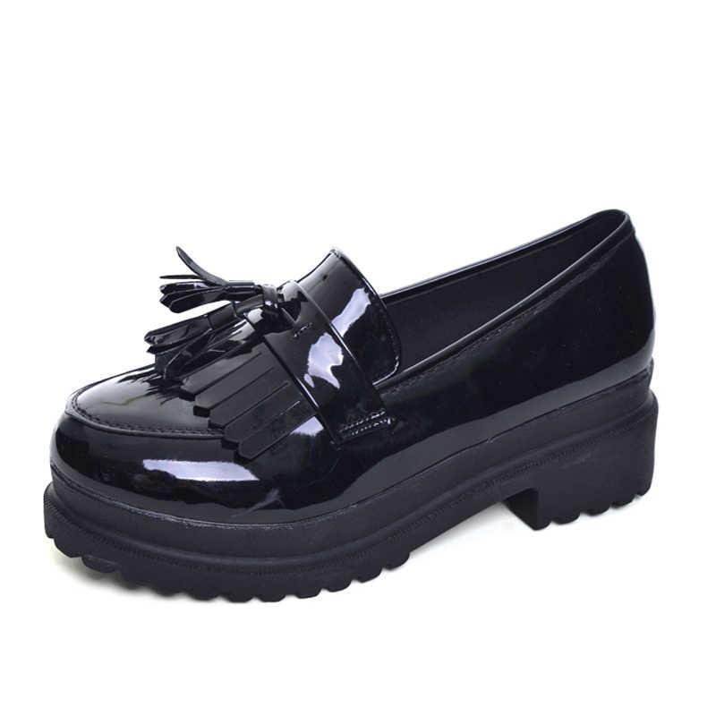 הי גרנד 2017 חדש נשים נעלי אוקספורד בריטי PU פטנט עור פלטפורמת דירות אביב בוהן עגול להחליק על נעליים יומיומיות אישה XWD3511