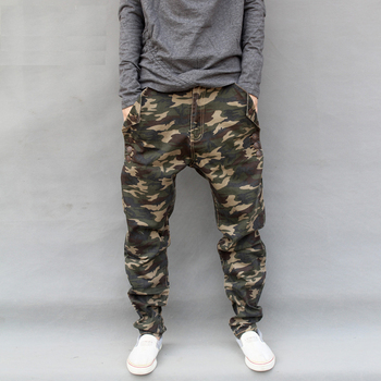 Unique Design Men's Spring and Autumn Camouflage Casual Harem Pants Big Crotch Large Pants Plus Size Skinny Trousers