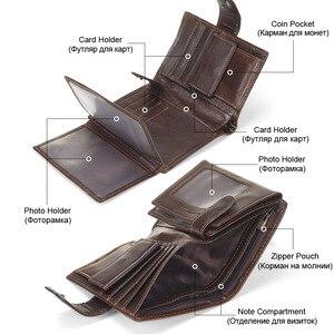 Image 3 - MISFITS Vintage Men Wallet Genuine Leather Short Wallets Male Multifunctional Cowhide Male Purse Coin Pocket Photo Card Holder
