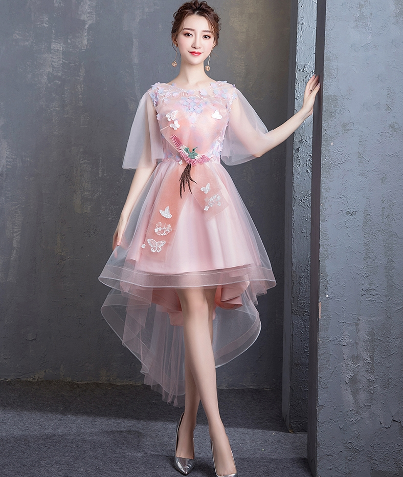 Pink Bling Cocktail Dresses Tulle Sexy High Low Prom Party Short Dress O-neck Hand Flowers 2019 New