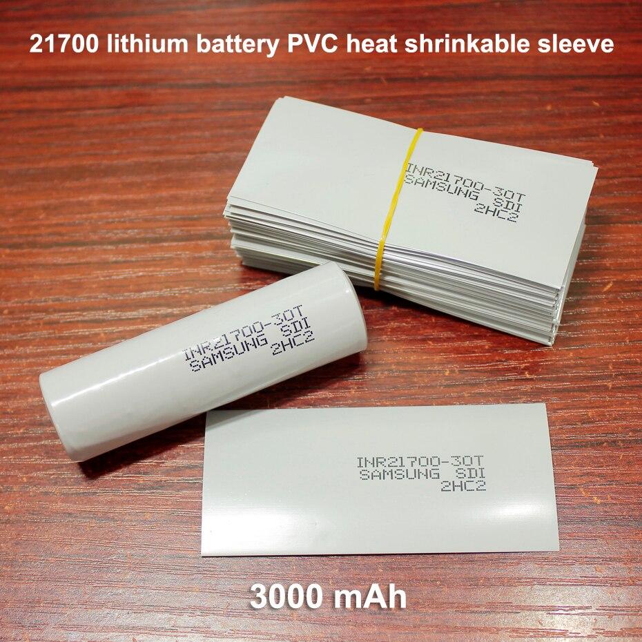 100pcs/lot 21700 Battery Replacement Skin Packaging Film PVC Heat Shrinkable Sleeve 3000MAH