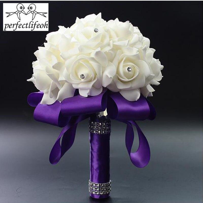 Bouquet Sposa Fucsia.Perfectlifeoh Fucsia Rosa Artificiale Fiori Da Sposa Bouquet Sposa