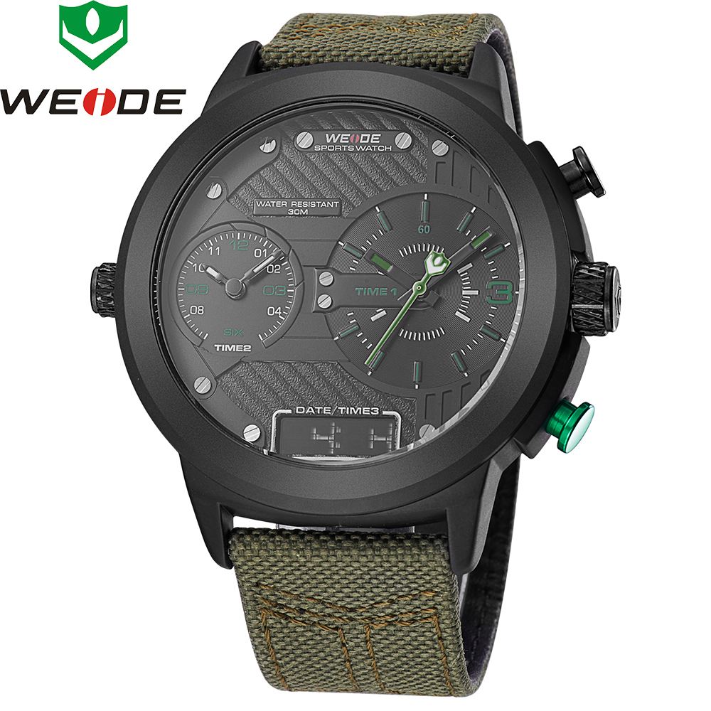 2018 New Luxury Brand Weide Men Watches Nylon Strap Quartz Clock Led Digital Military Watch Sport Wristwatch Relogio Masculino weide army watches men s steel business luxury brand quartz military sport watch analog digital display wristwatch sale items
