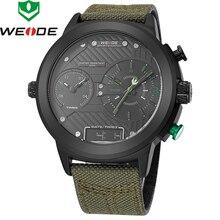 2018 חדש יוקרה מותג Weide גברים שעונים ניילון רצועת קוורץ שעון Led דיגיטלי צבאי שעון ספורט שעוני יד Relogio Masculino