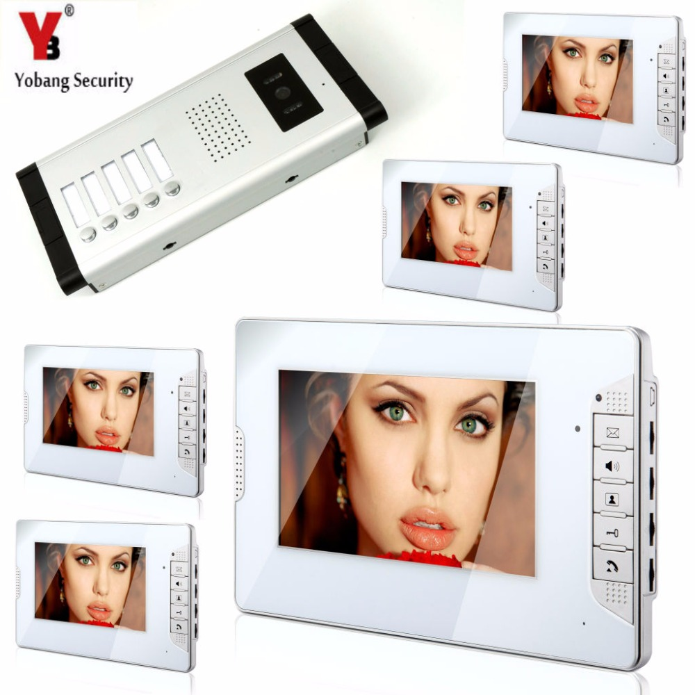 YobangSecurity 5 Units Apartment Video Door Intercom 7Inch Monitor Video Doorbell Door Phone Speakphone Camera Intercom System yobangsecurity wifi wireless video door phone doorbell camera system kit video door intercom with 7 inch monitor android ios app
