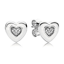 Fashion New 100% 925 Sterling Silver Branded Earrings For Women Logo Heart Earring Studs Lady Fine Original Europe Jewelry Gift for 100% new original aeonmed china aeon 7200 a100d fetal heart detectors ultrasonic new original
