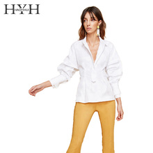 HYH HAOYIHUI Women Casual Office Lady Solid Tops Blouse With Waist Tie Turn Down Collar Long Lantern Sleeve Basic Shirt недорого