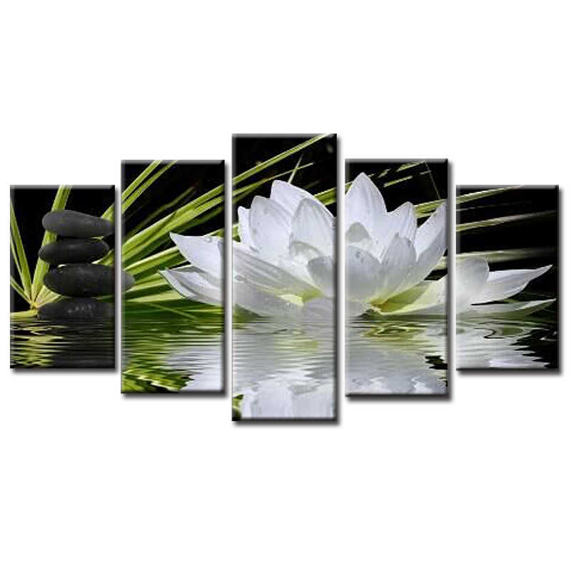 Wholesale 5 Pieces/set New Chinese lotus Canvas Painting Living room bedroom painting Decoration Print Canvas Pictures