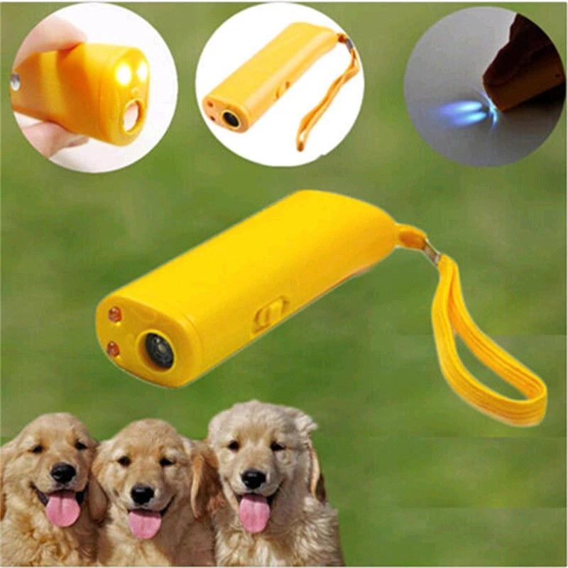 Ruris Ultrasonic Dog Repeller Trainer Device 3 in 1 Anti Barking Stop Bark Control Trainer LED Flashlight