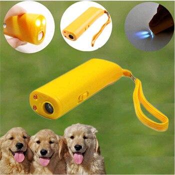 Repelente de perro mascota Anti ladrido detener la corteza entrenador aparato de entrenamiento LED ultrasónico 3 en 1 Anti ladrido ultrasónico sin batería