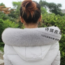 10 Colors Genuine Natural Fox Fur Collar & Women Scarfs Fashion Coat Sweater Scarves Jacket Luxury Fur Neck Cap C002-lightgrey