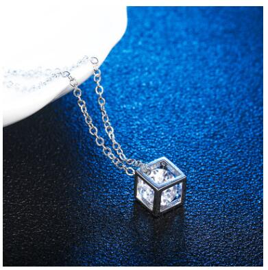 Square Cube Necklace&Pendant Crystal Long Statement Chain Necklace Jewelry For Women Cubic Fashion Chain Female Gift