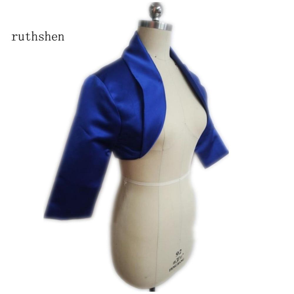 Ruthshen Royal Blue Women Satin Wedding Jacket Fall New Three Quater Sleeves Unique Collar Bridal Coat / Bolero / Shrug