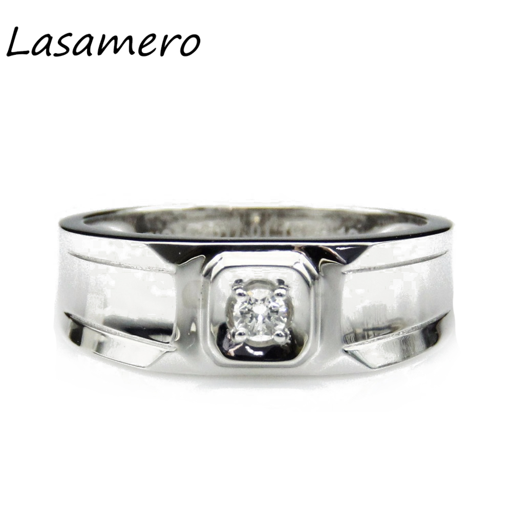 LASAMERO Ring For Women 0.08ct Certified Natural Diamond Ring Accents Platinum PT950 Gol ...