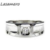 Pierścień Dla Kobiet 0.08ct LASAMERO Certified Natural Diamond Ring Platinum PT950 Złota Obrączka Zaręczynowy Akcenty