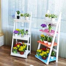 American pastoral desktop wooden three-tier flower rack multi-layer flowerpot shelf shelf fleshy flowerpot flower shelf ladder