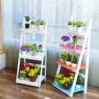 American pastoral desktop wooden three tier flower rack multi layer flowerpot shelf shelf fleshy flowerpot flower shelf ladder