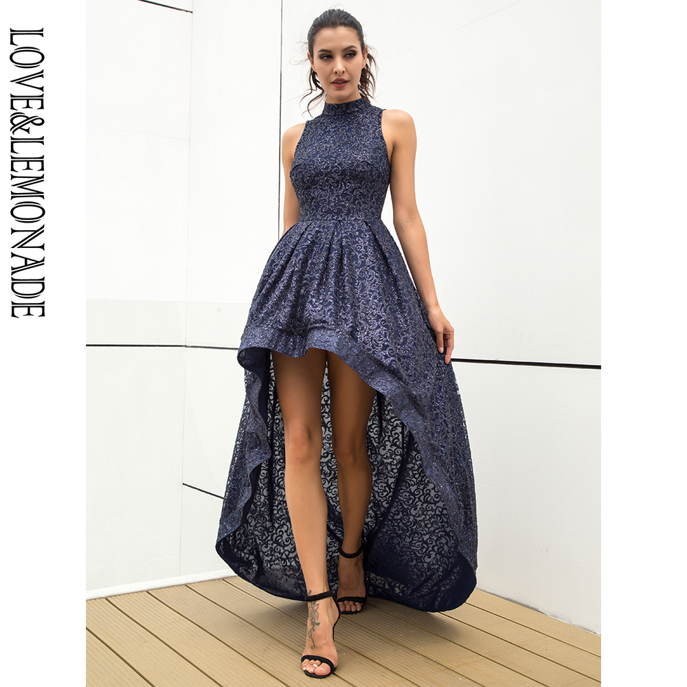 Love Lemonade Sexy Navy Stand Collar Flower Rattan Pattern Glitter Glued Material Sleeveless Party Dress LM81212