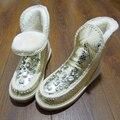 Rhinestone de piel de Oveja Mujeres botas de piel de nieve plataforma plana tobillo invierno botas Damas botas de Australia bottine femme botas mujer