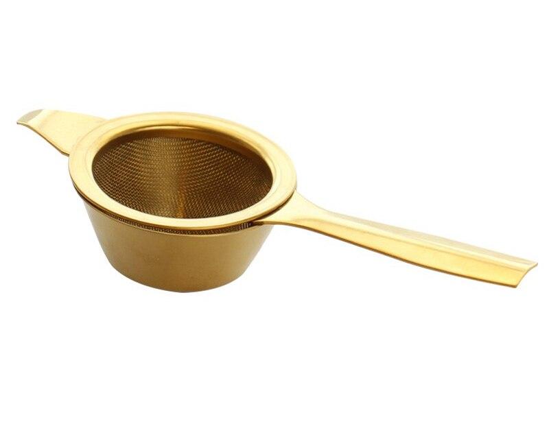 Stainless Steel Tea Infuser Afternoon Tea Filter Long Handle Mesh Tea Strainer with Drip Bowl loose Leaf Green Herb Tea Accessories  (12)