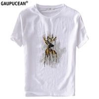 Linen Cotton Cool Breathable Anti static Men T Shirt Short Sleeve Deer embroidery Casual White O neck Quality Man T shirts
