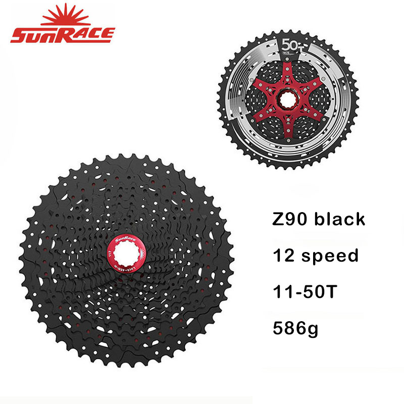 SunRace MTB CSMZ90 Cassette 12-speed - 11-50T - Black / Silver , 50T 12s Bicycle Freewheel for Shimano