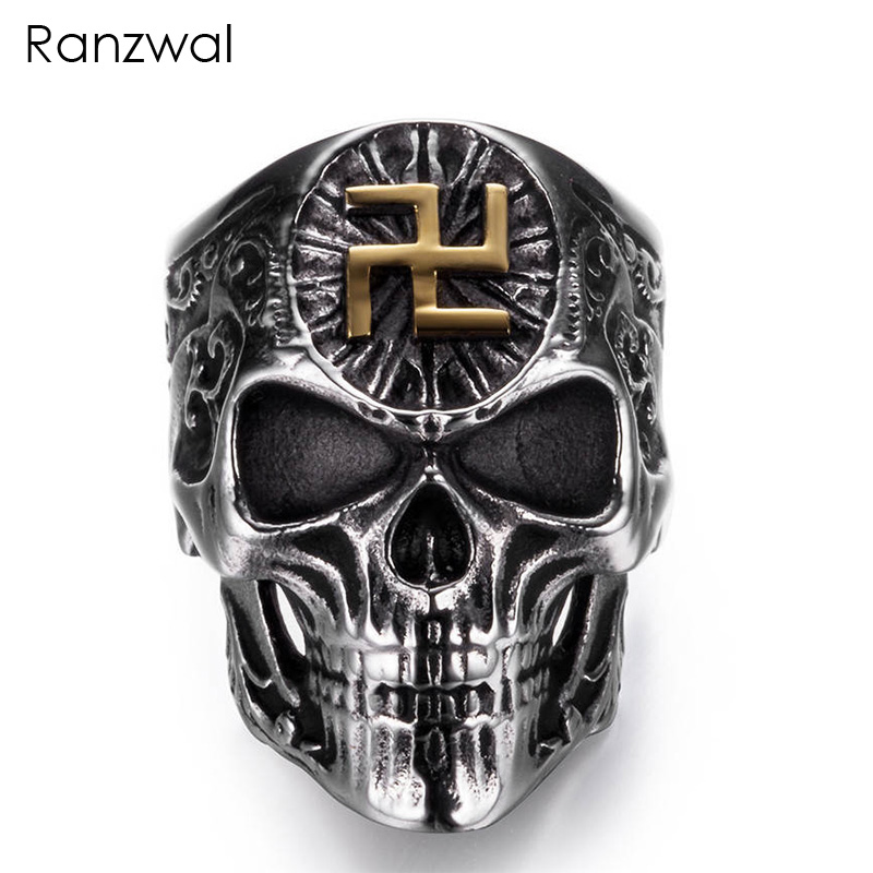 Ranzwal Punk Rock Men Stainless Steel Skull Ring Gothic Buddhist Word Swastika Skeleton Ring Vintage Jewelry US SIZE 8~13