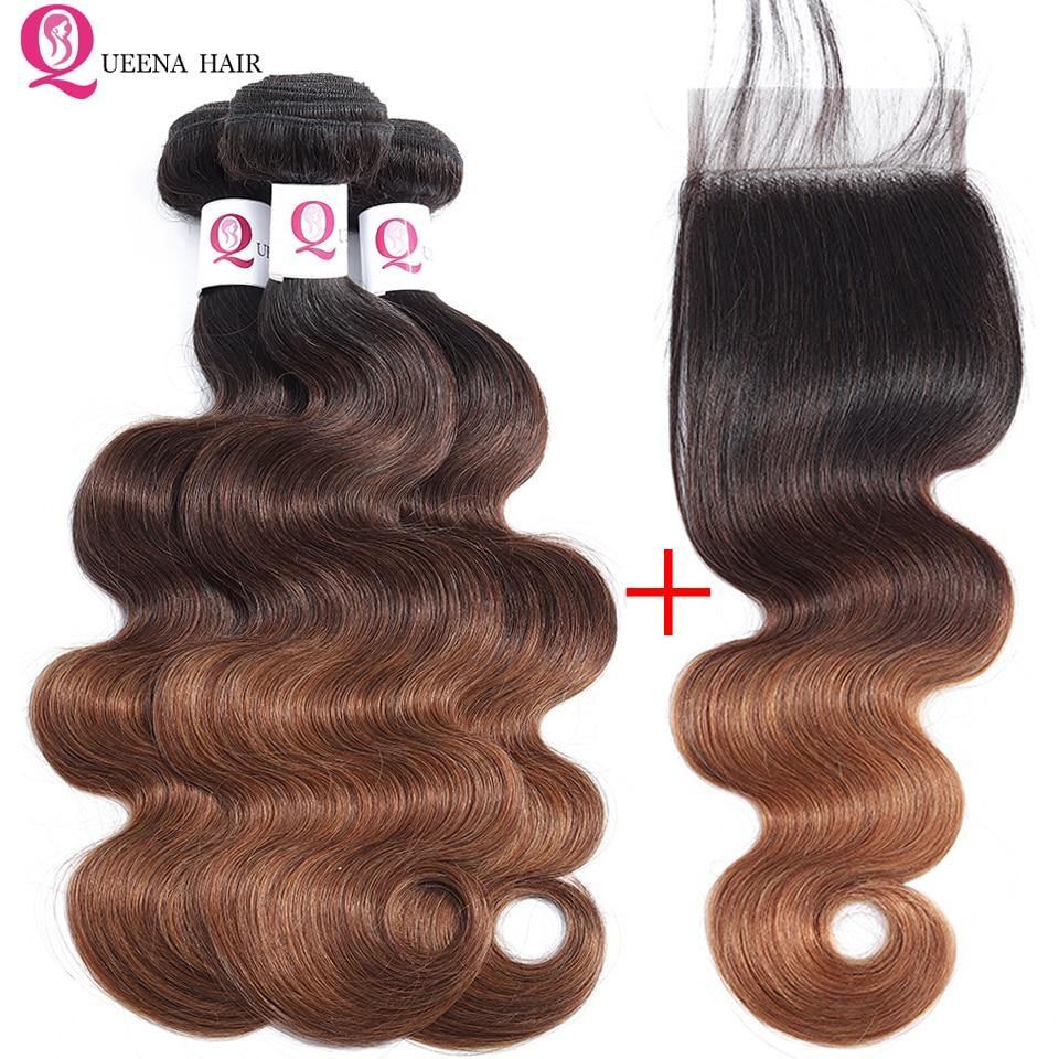 Ombre Bundles With Closure 1B/4/30  Ombre Peruvian Hair 3 Bundles With Closure Pre Colored Remy Human Hair Bundles With Closure