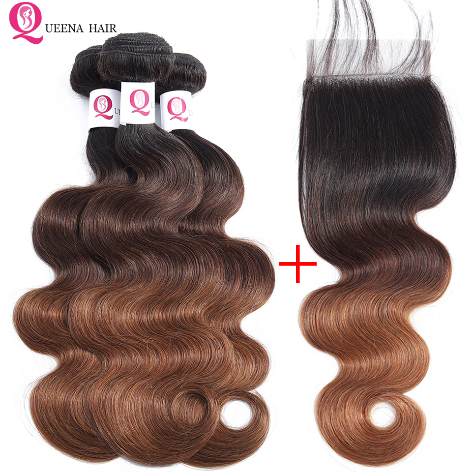 Ombre <font><b>Bundles</b></font> <font><b>With</b></font> <font><b>Closure</b></font> <font><b>1B</b></font>/4/<font><b>30</b></font> Ombre Peruvian Hair 3Bundles <font><b>With</b></font> <font><b>Closure</b></font> Pre Colored Remy Human Hair <font><b>Bundles</b></font> <font><b>With</b></font> <font><b>Closure</b></font> image